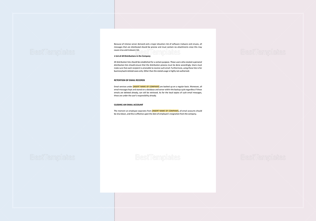 Simple Employee Email Policies Template