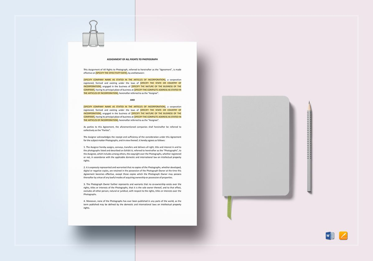 Assignment of All Rights To Photograph Template