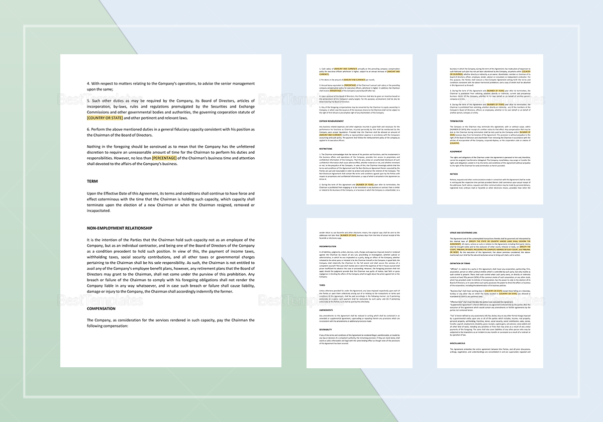 Sample Agreement for Chairman of Board of Directors Template