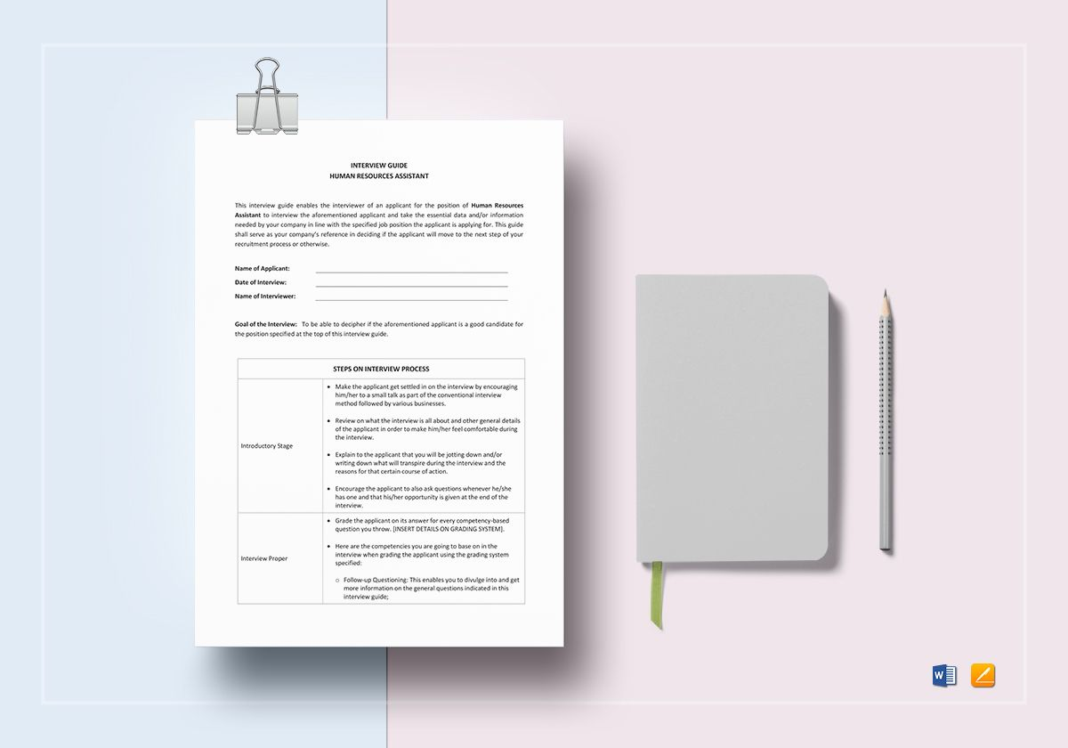 Interview Guide Human Resources Assistant Template