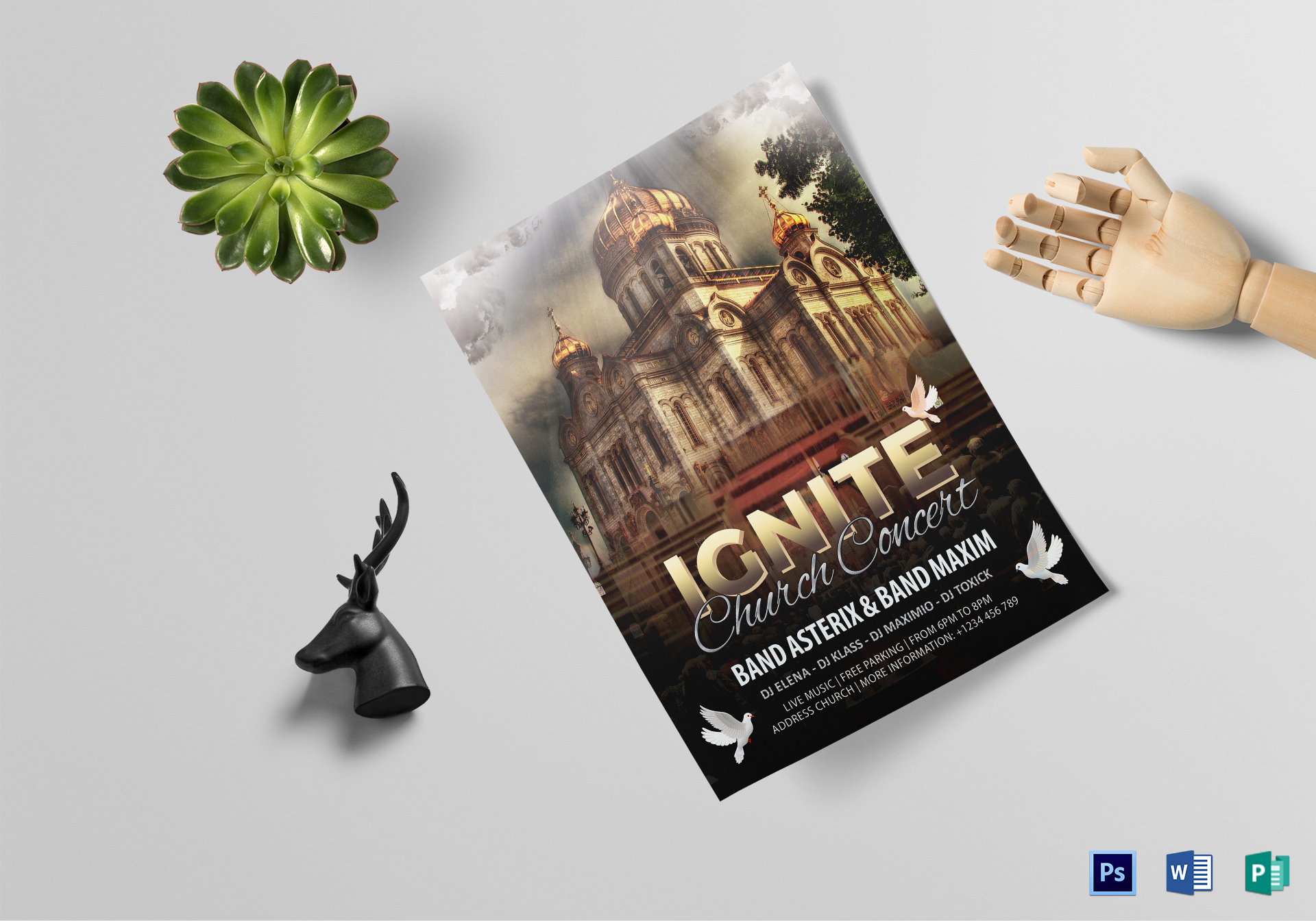 Ignite Church Concert Flyer Design Template in PSD, Word, Publisher