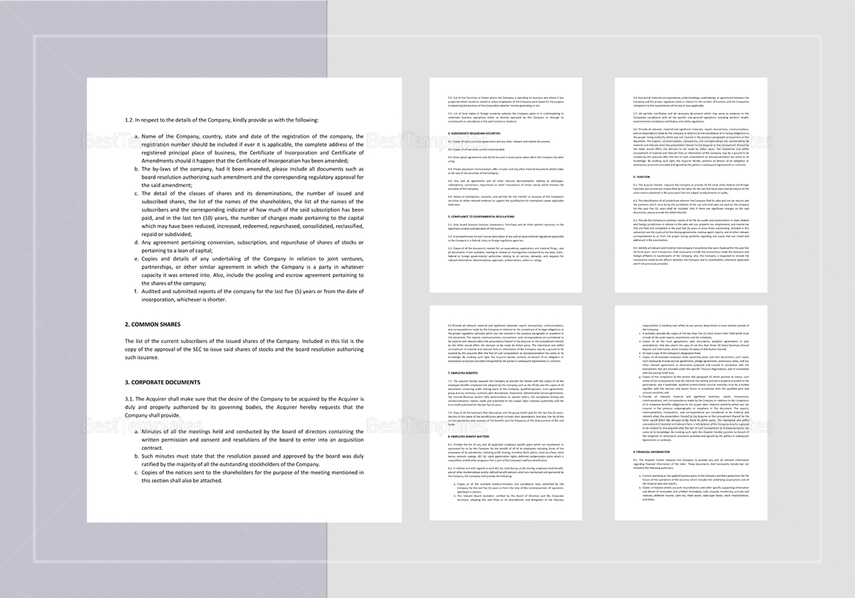 Sample Acquisition of Common Shares Documents Request for Due Diligence Template