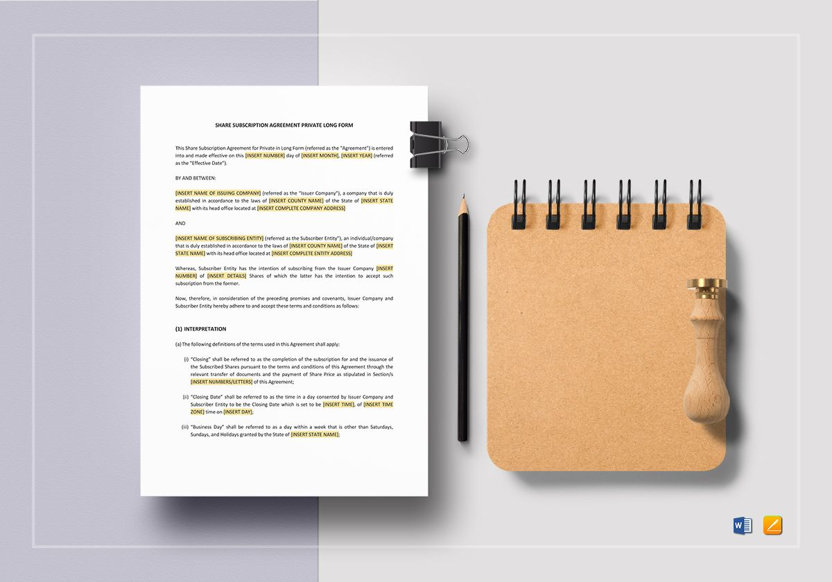 Share Subscription Agreement Private Long Form Template
