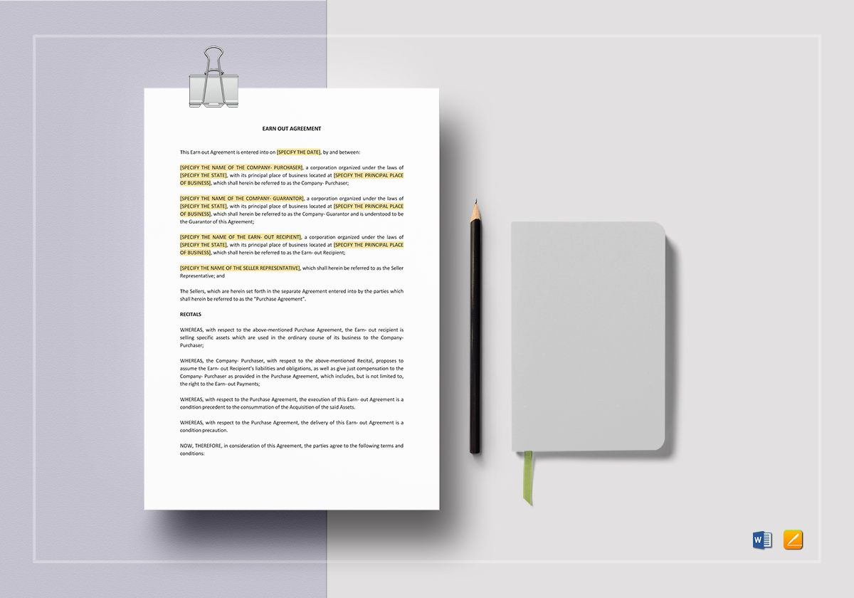 Earn out Clause Agreement Template