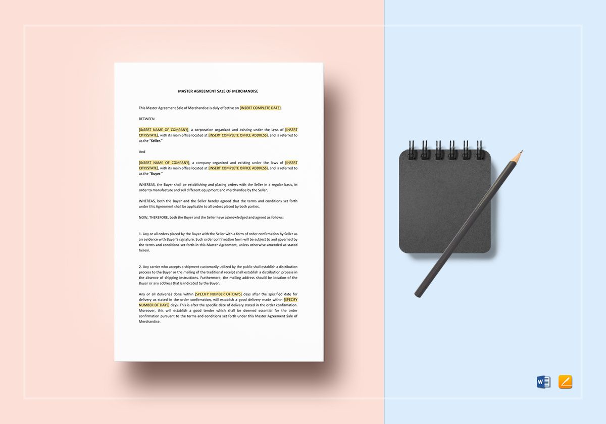 Master Agreement Sale of Merchandise Template