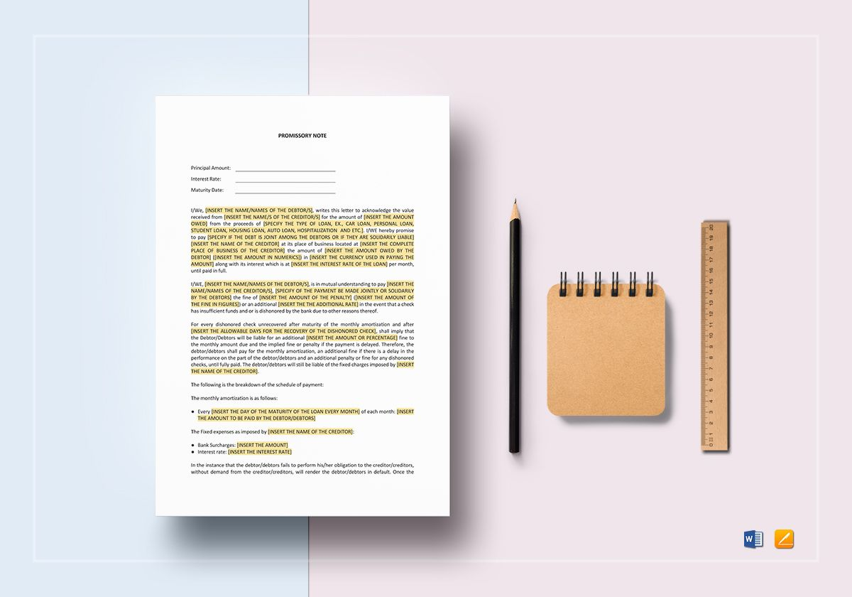 Promissory Note With Acknowledgement Template