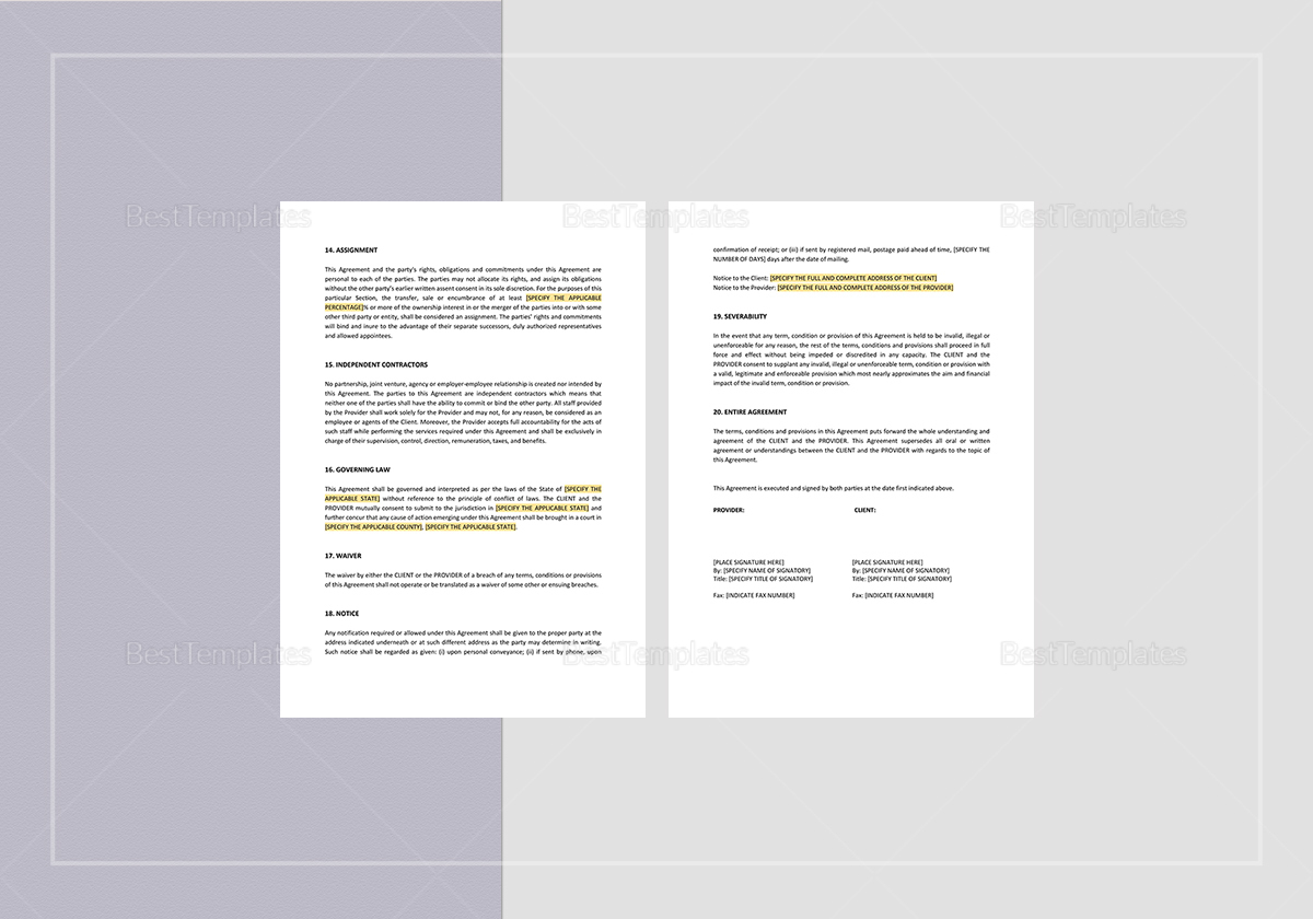 Simple Website Design, Hosting and Commercial Services Agreement Template