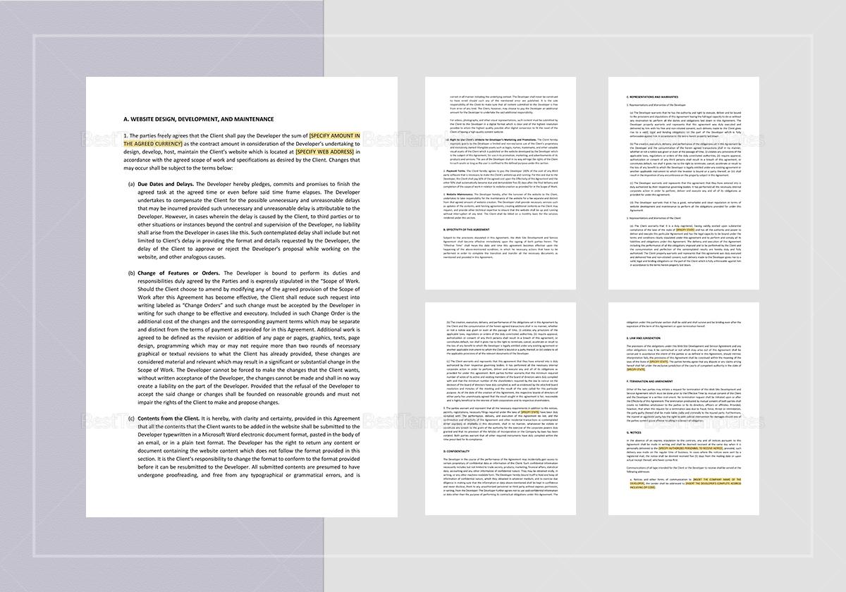 Website Development and Service Agreement Template