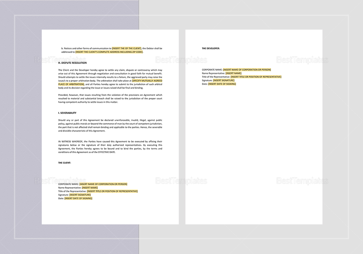 Sample Website Development and Service Agreement Template