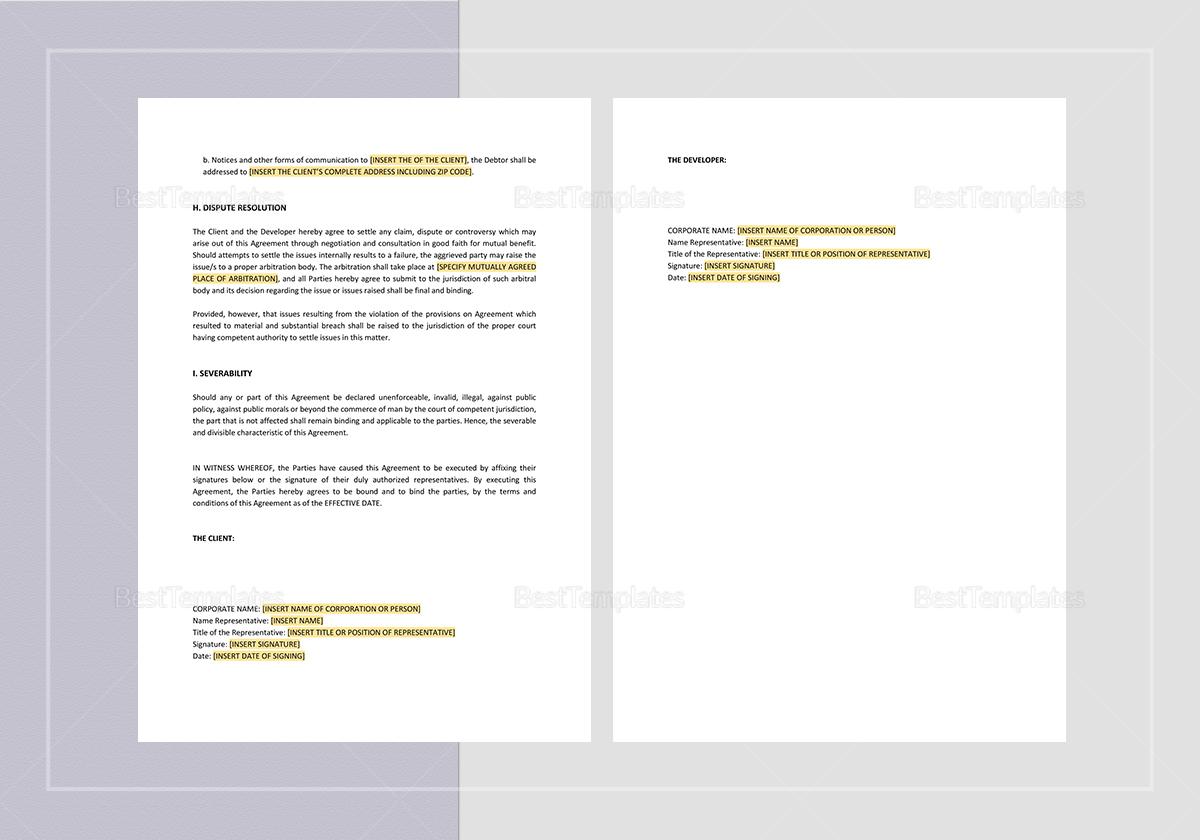 Sample Website Development and Service Agreement Template