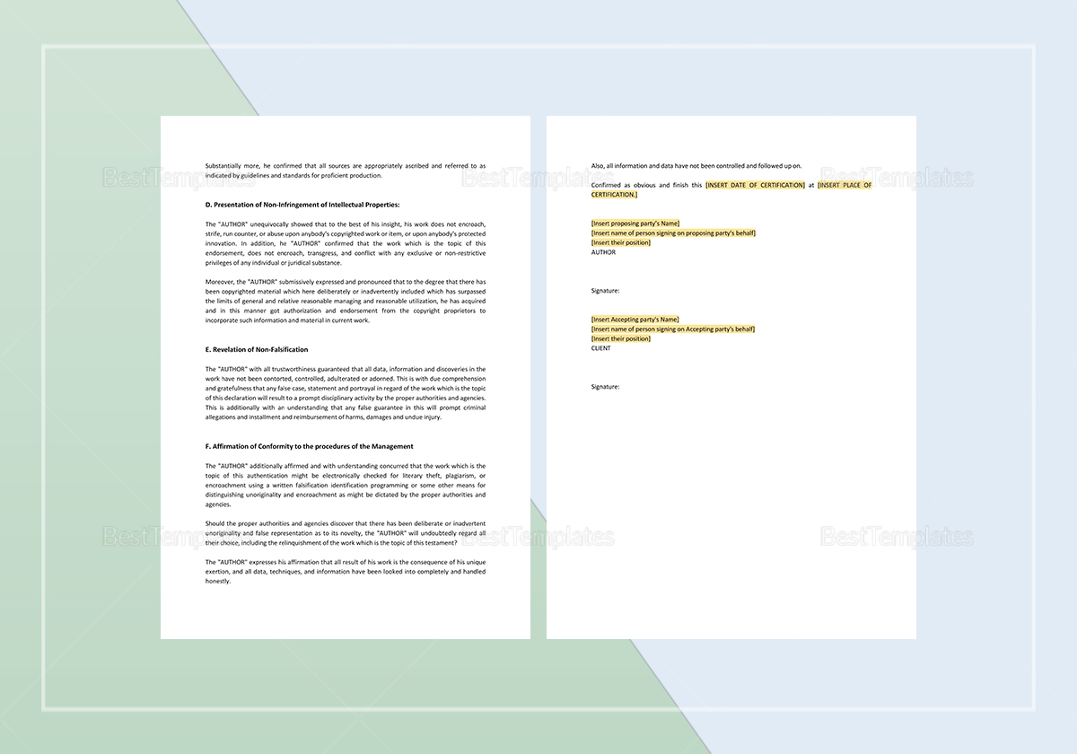Sample Authorship Certificate Template