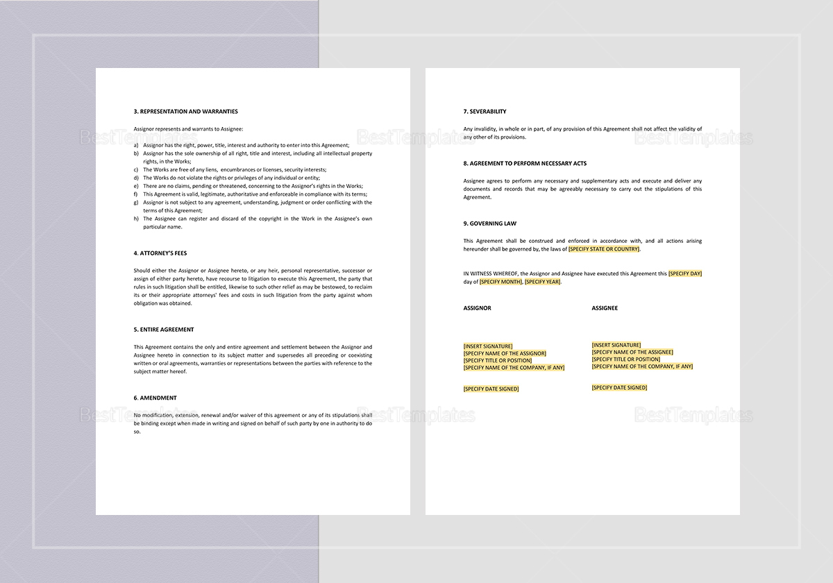 Sample Assignment of Copyright Template