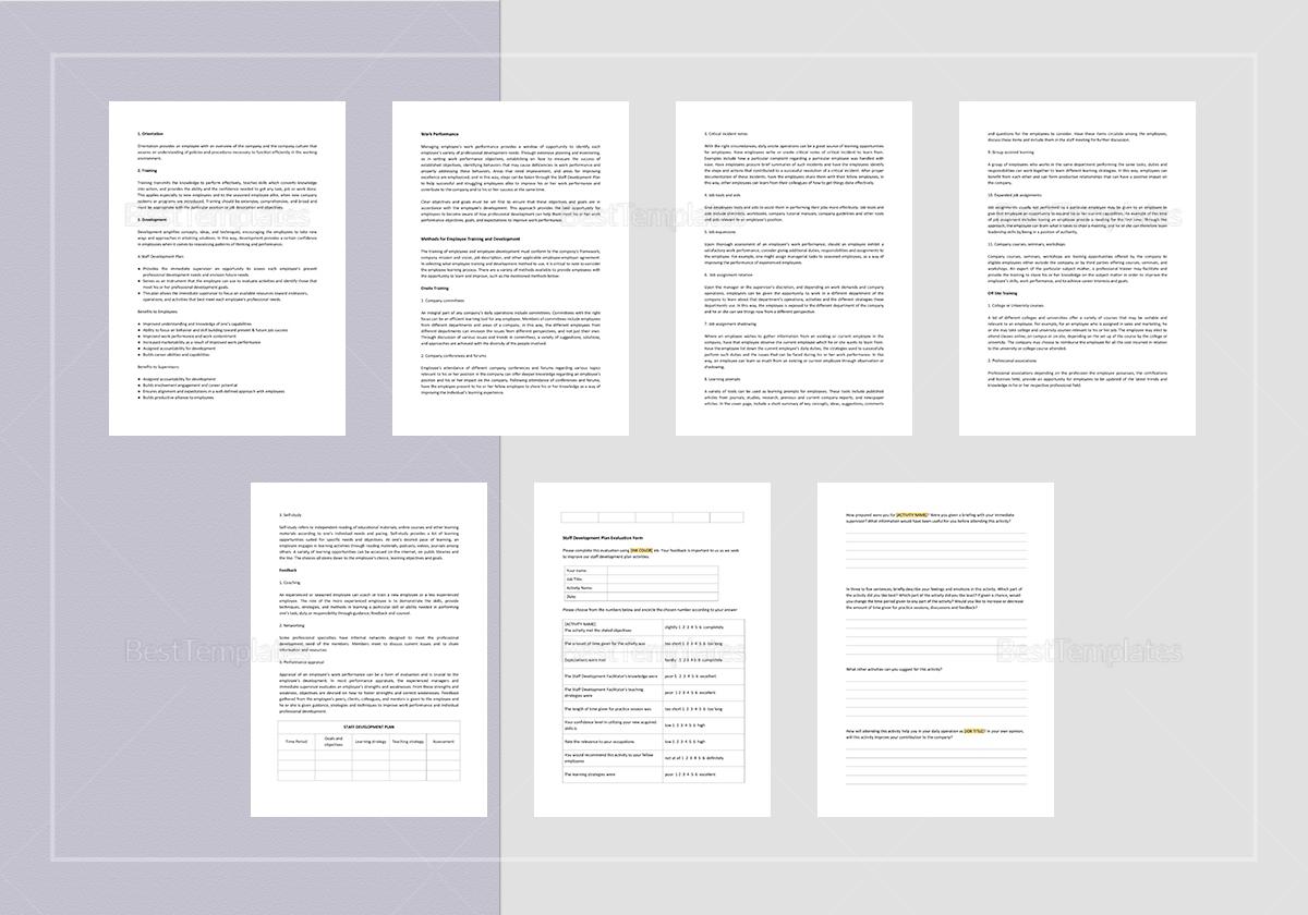 Staff Development Plan Template to Print