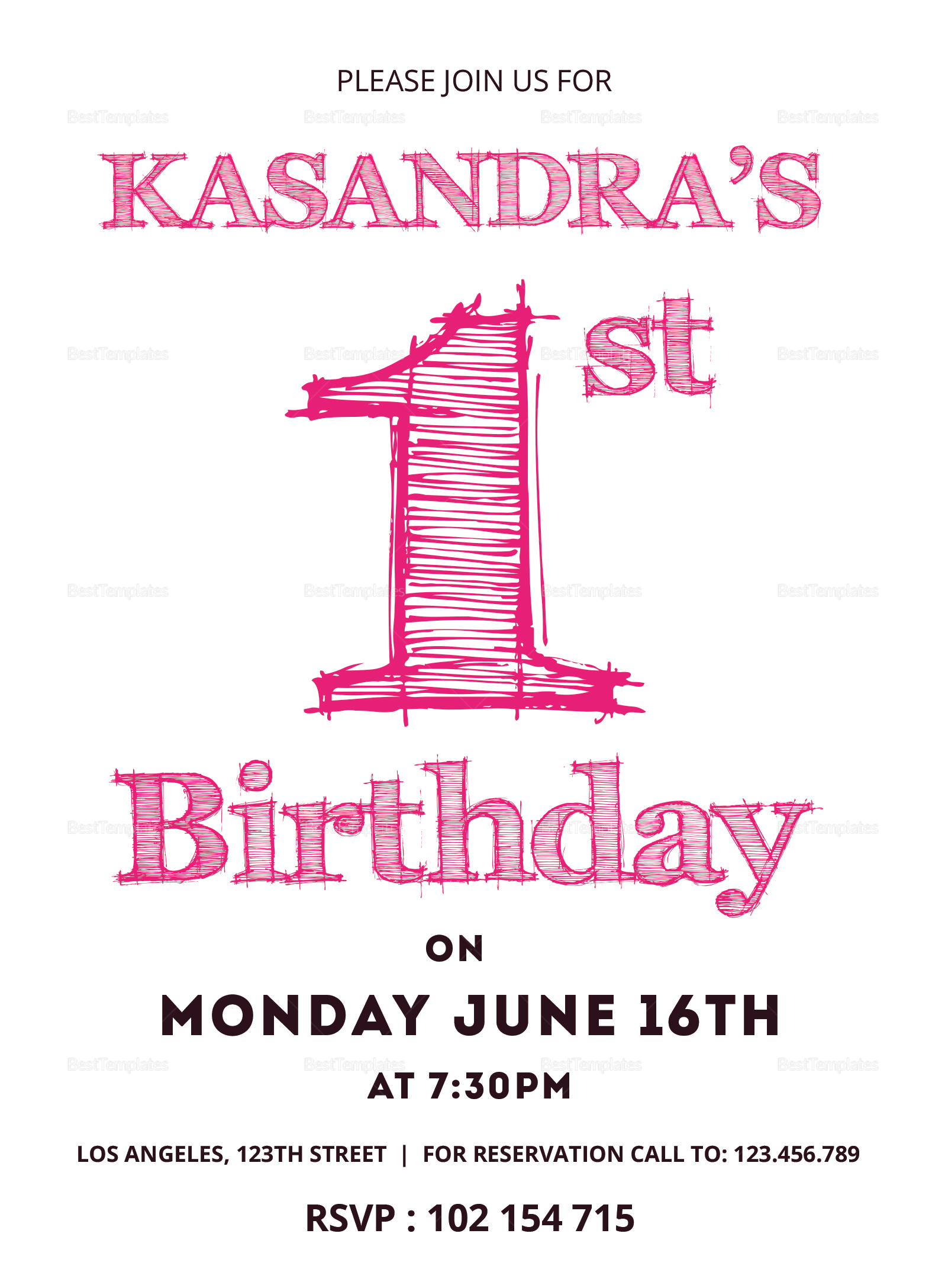 1st Birthday Invitation Card Design Template