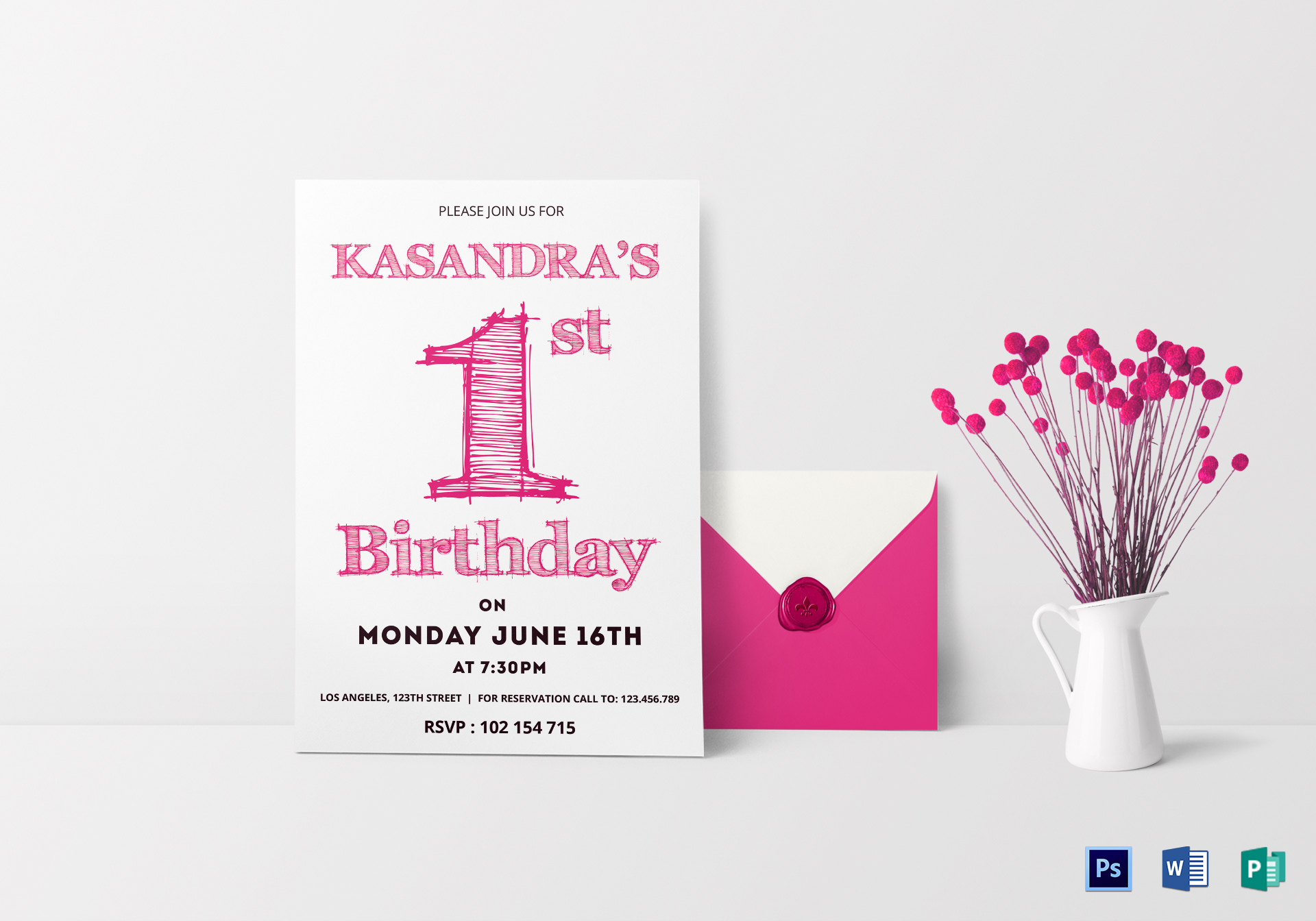 1st Birthday Party Invitation Card Design Template In Word PSD