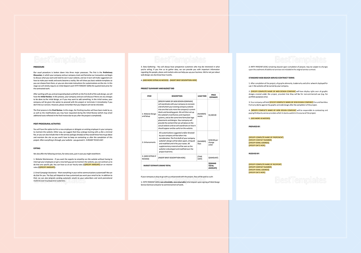 web design proposal template in word  apple pages