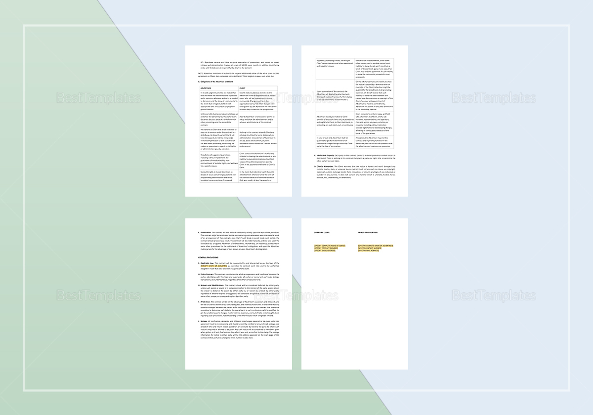 Simple Online Advertising Contract Template