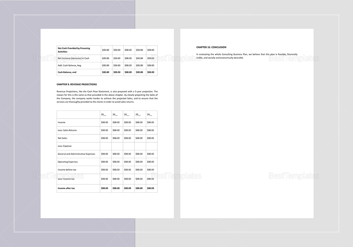 Sample Consulting Business Plan Template