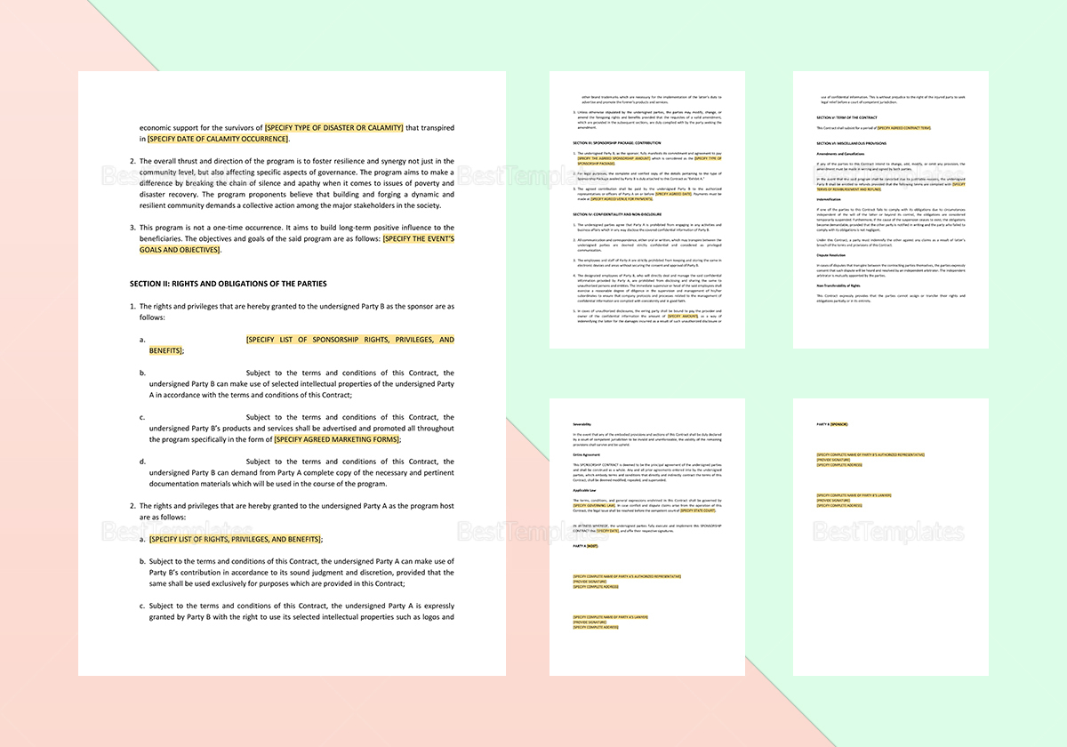 Sample Sponsorship Contract Template