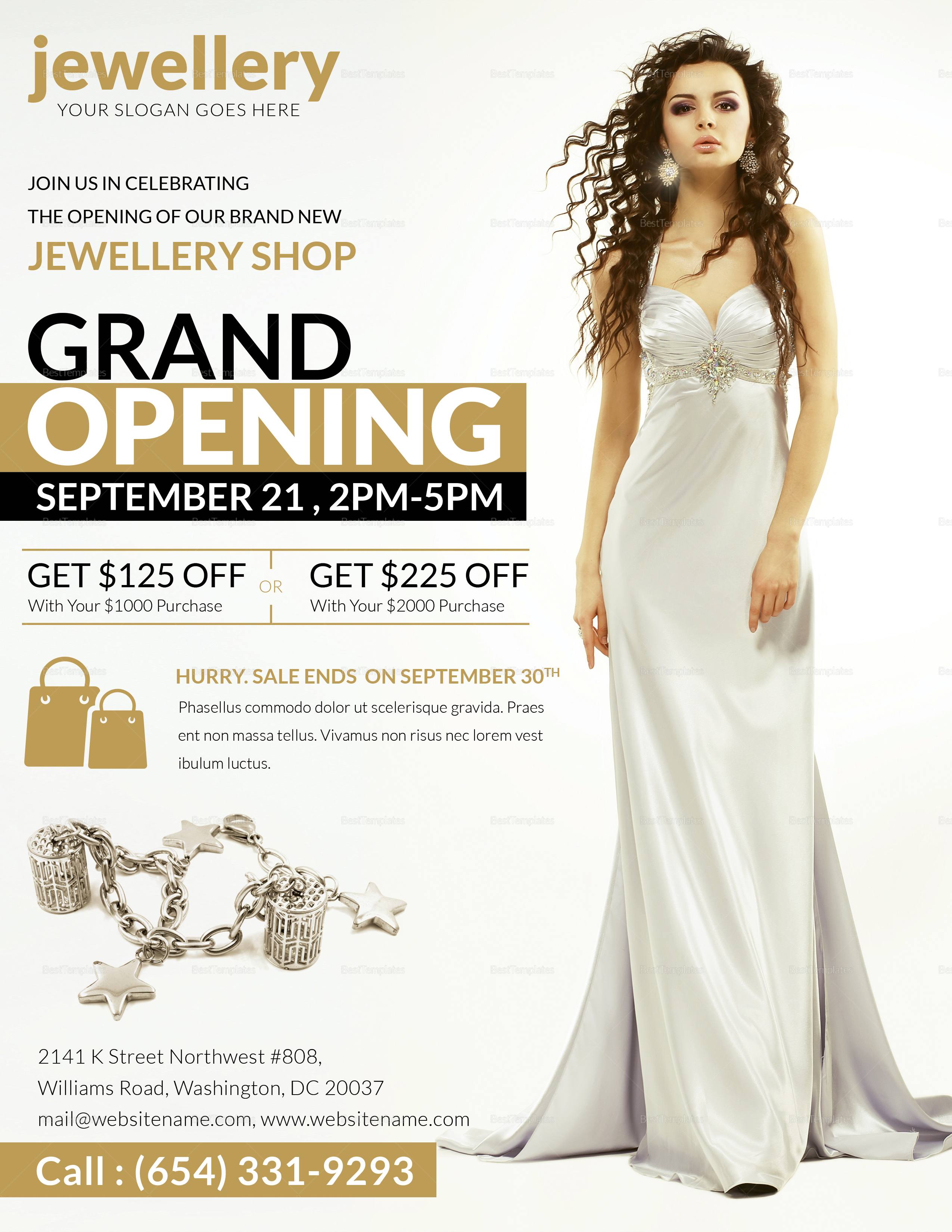 Elegant Jewellery Grand Opening Flyer Design Template In Psd Word Publisher