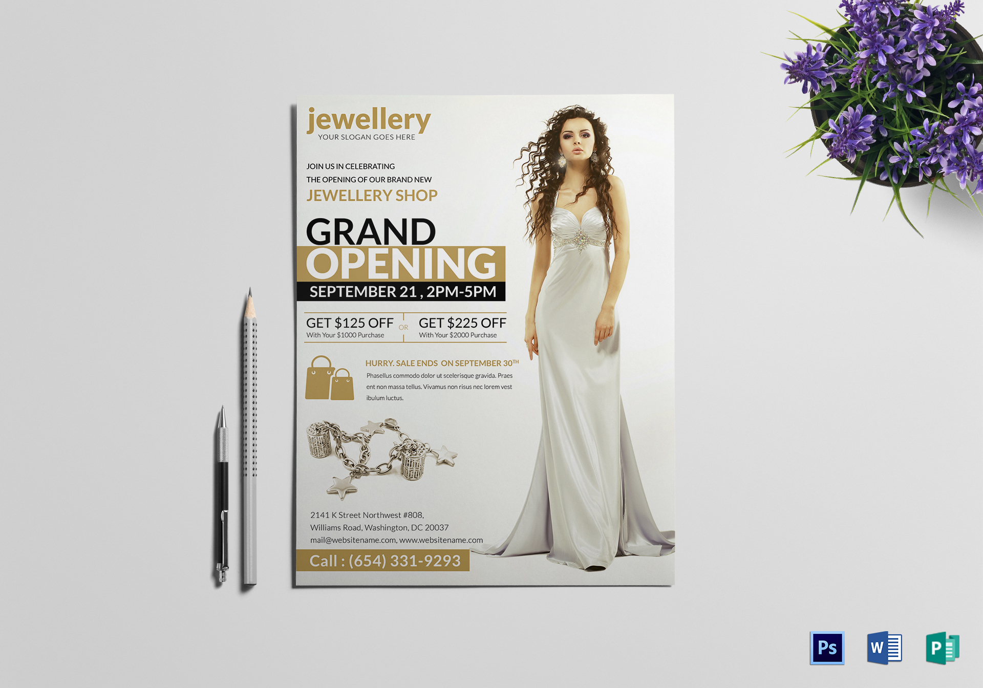 elegant jewellery grand opening flyer design template in psd word