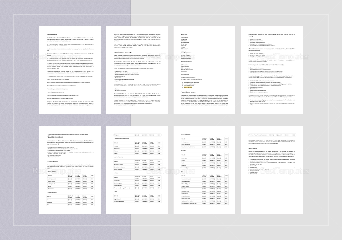 Sample Disaster Recovery Plan Template