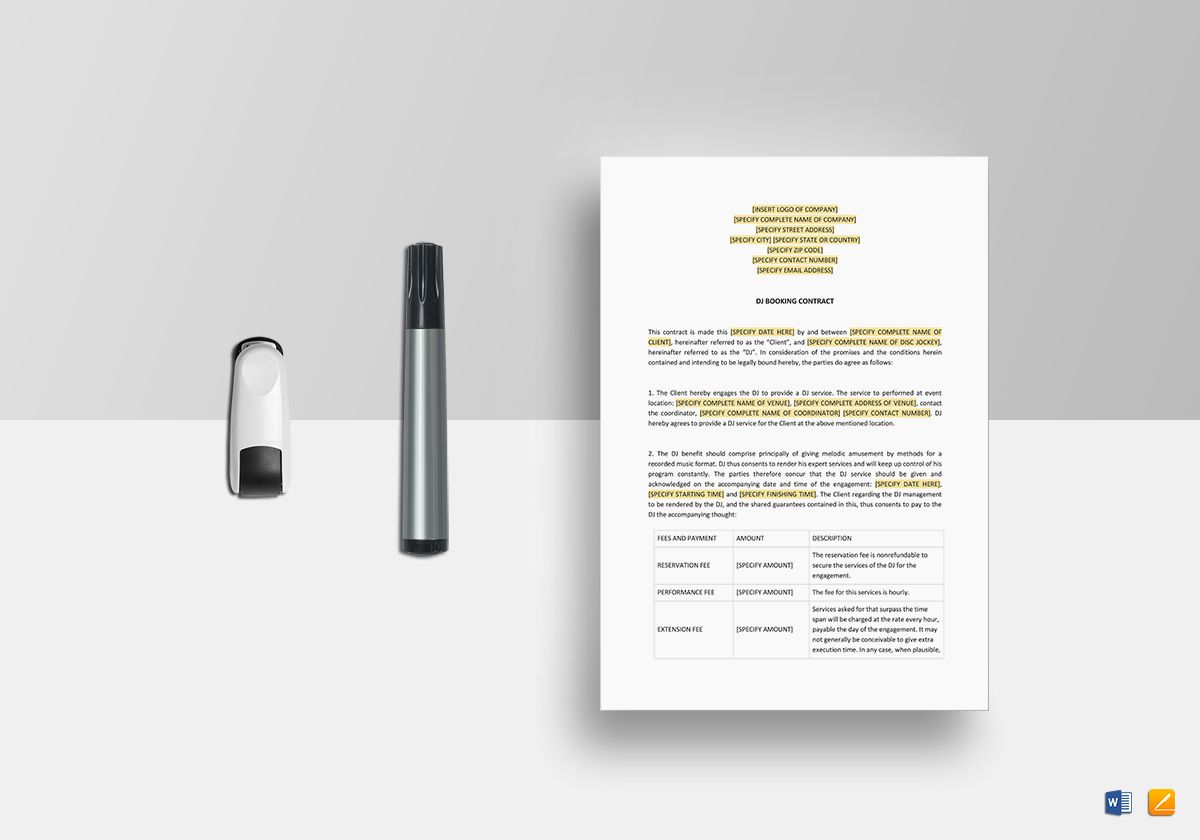 Dj Booking Contract Template In Word Apple Pages
