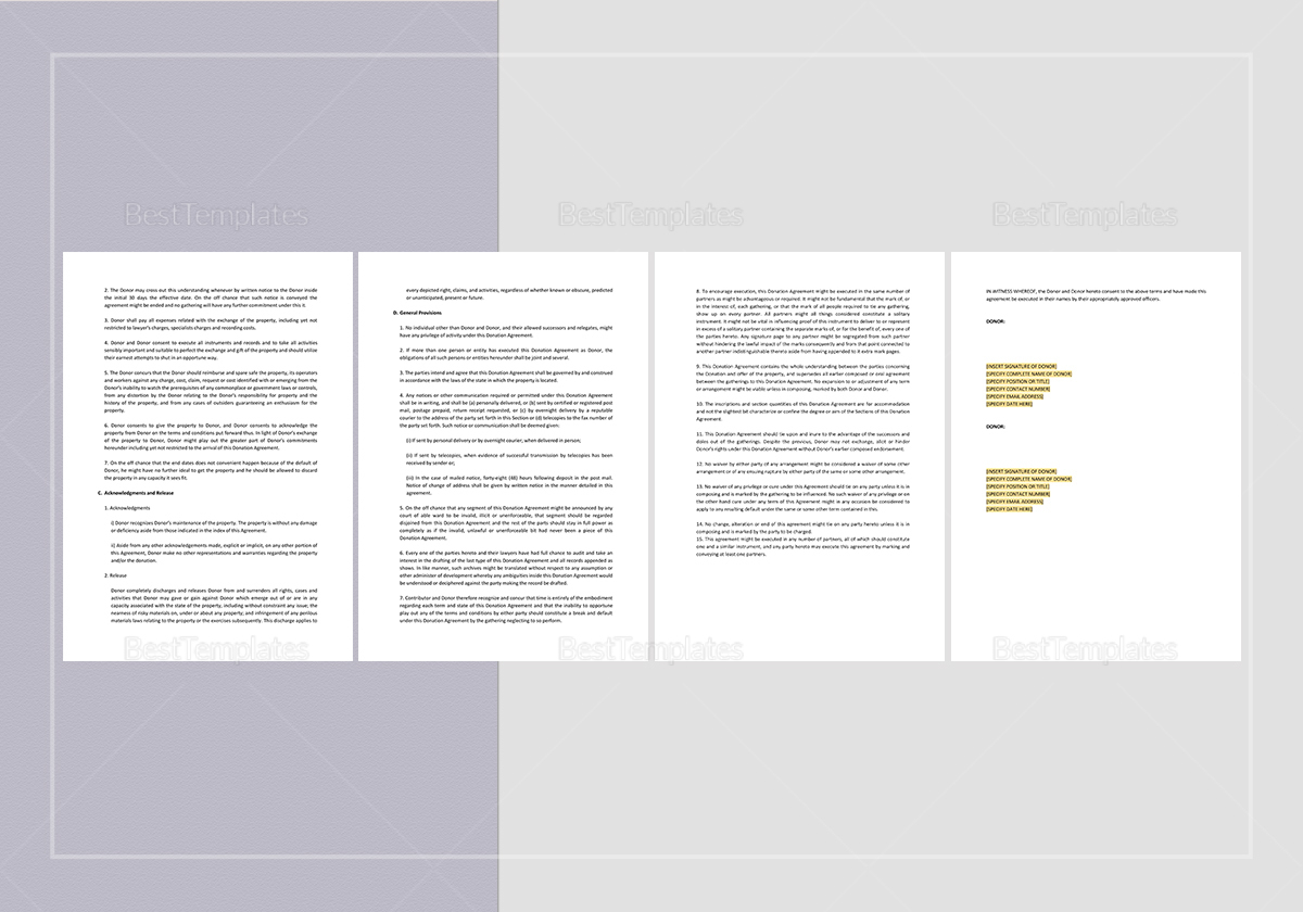 Sample Donation Agreement Template