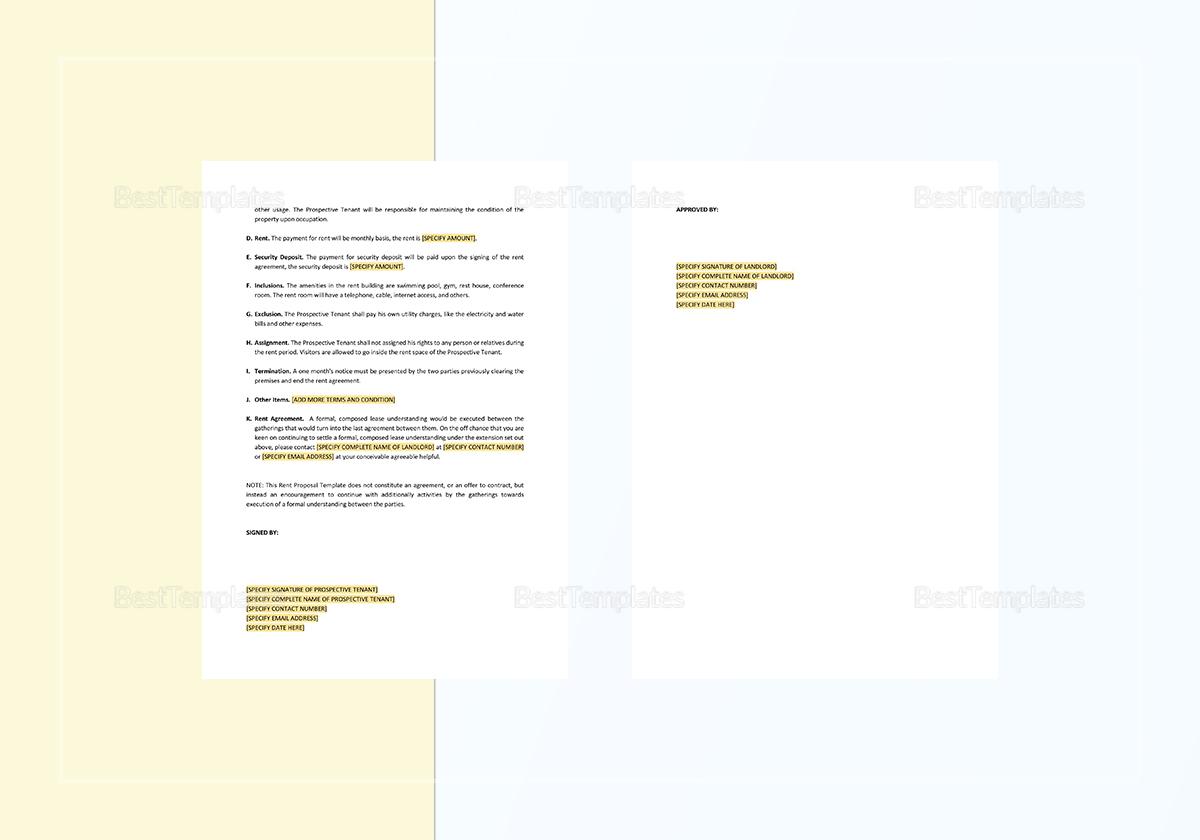 Sample Rental Proposal Template