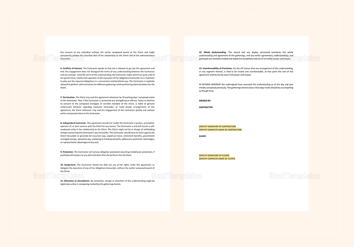 Sample Business Agreement between Two Parties Template