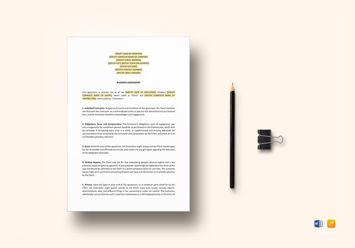 business agreement between two parties template business agreement between two parties template sample