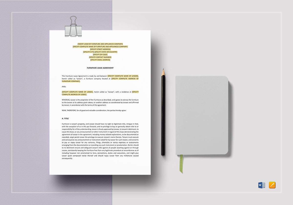 Furniture Lease Agreement Template