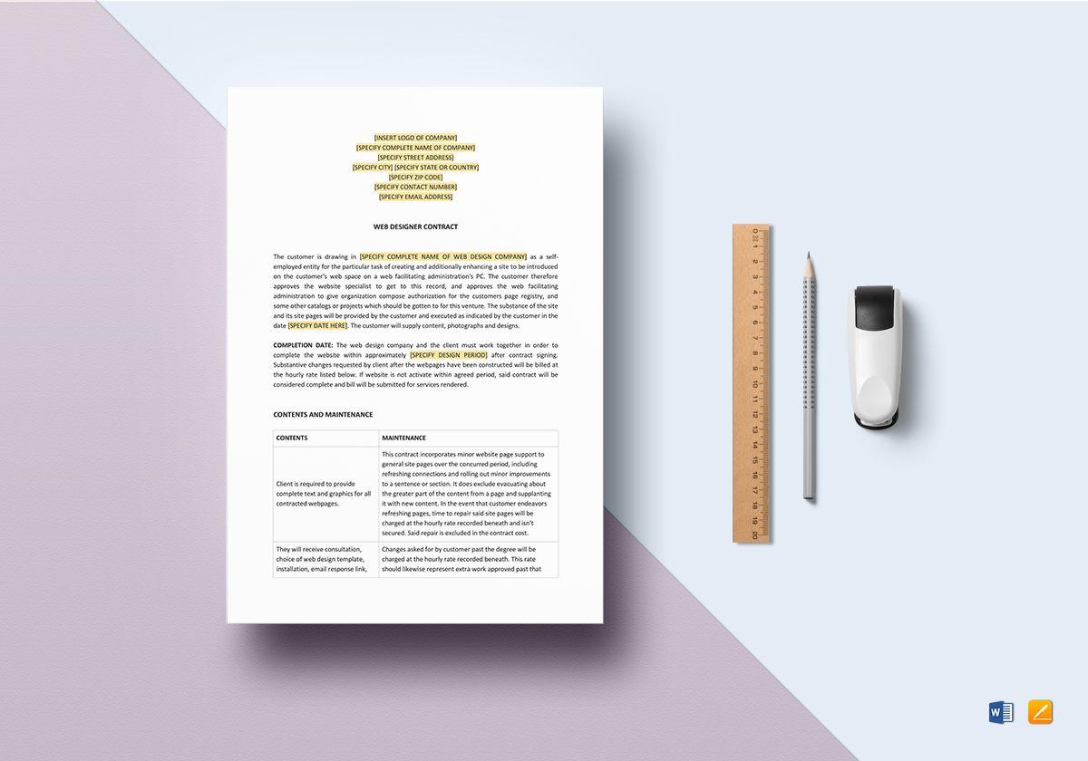 Web Designer Contract