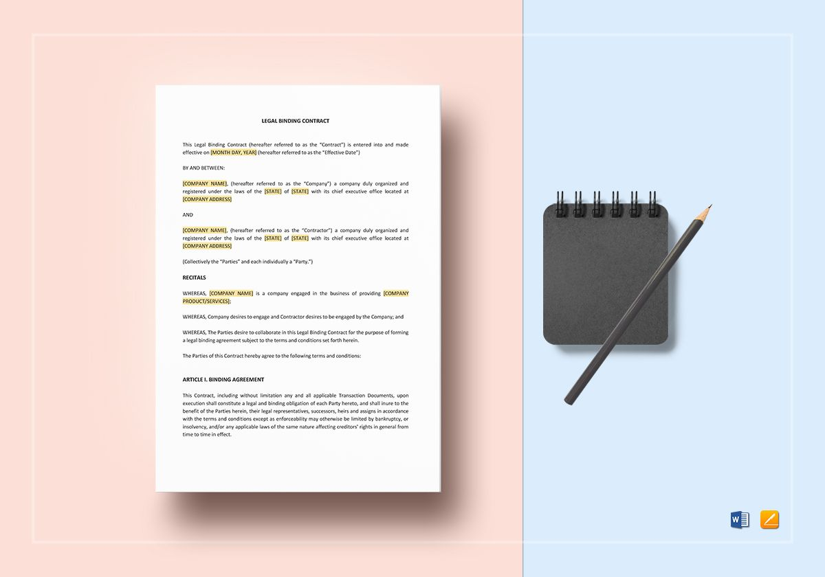 Sample Legal Binding Contract