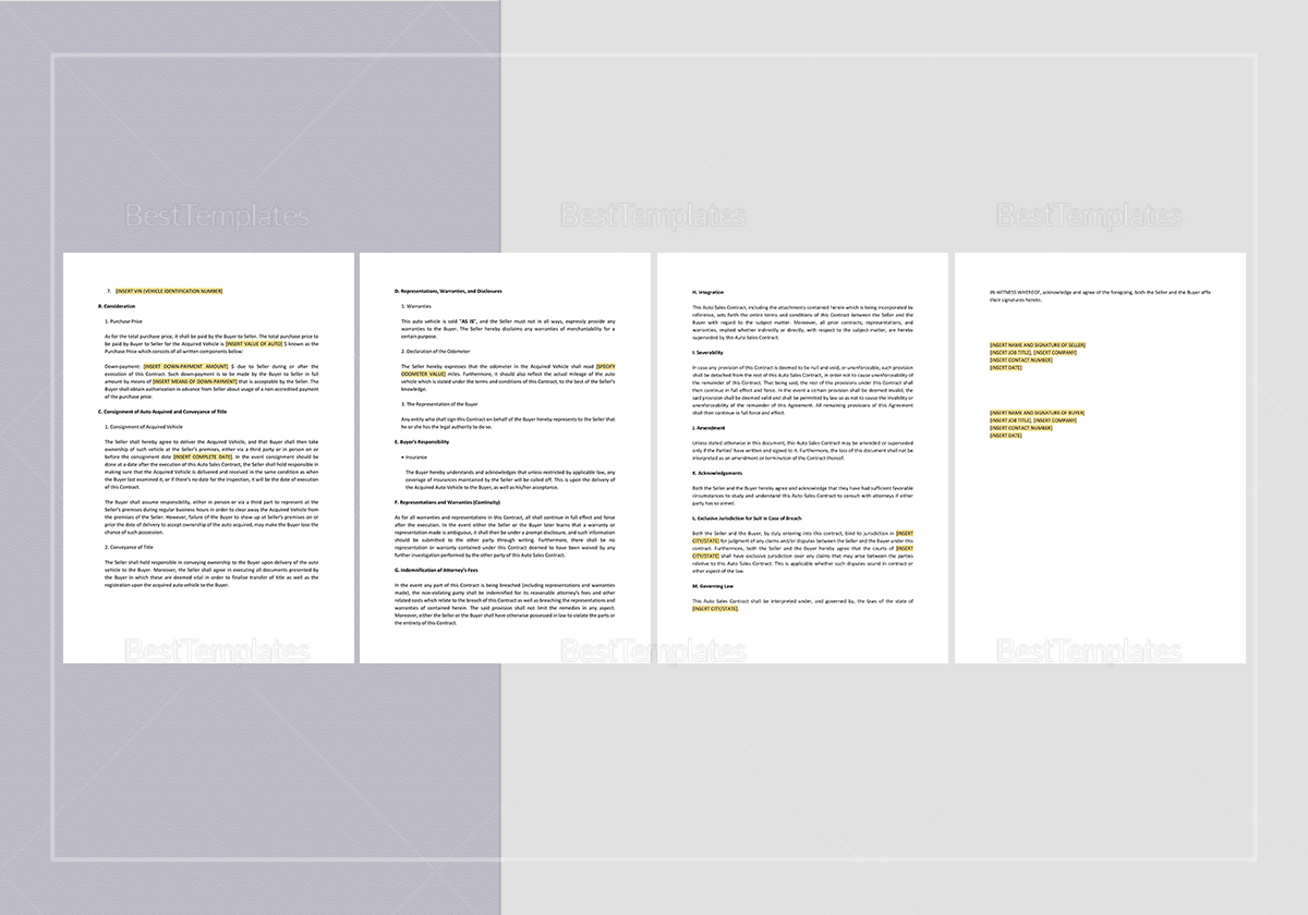 Sample Auto Sales Contract Template