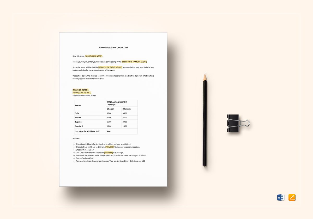 Accommodation Quotation Template