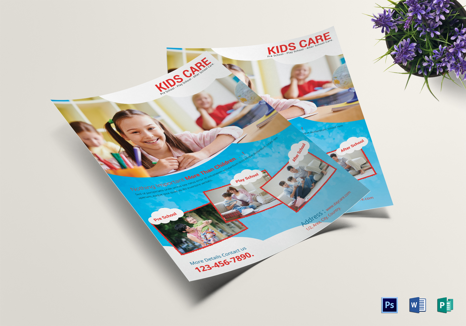 Scholar Kids Care Centre Flyer Design Template in PSD, Word, Publisher