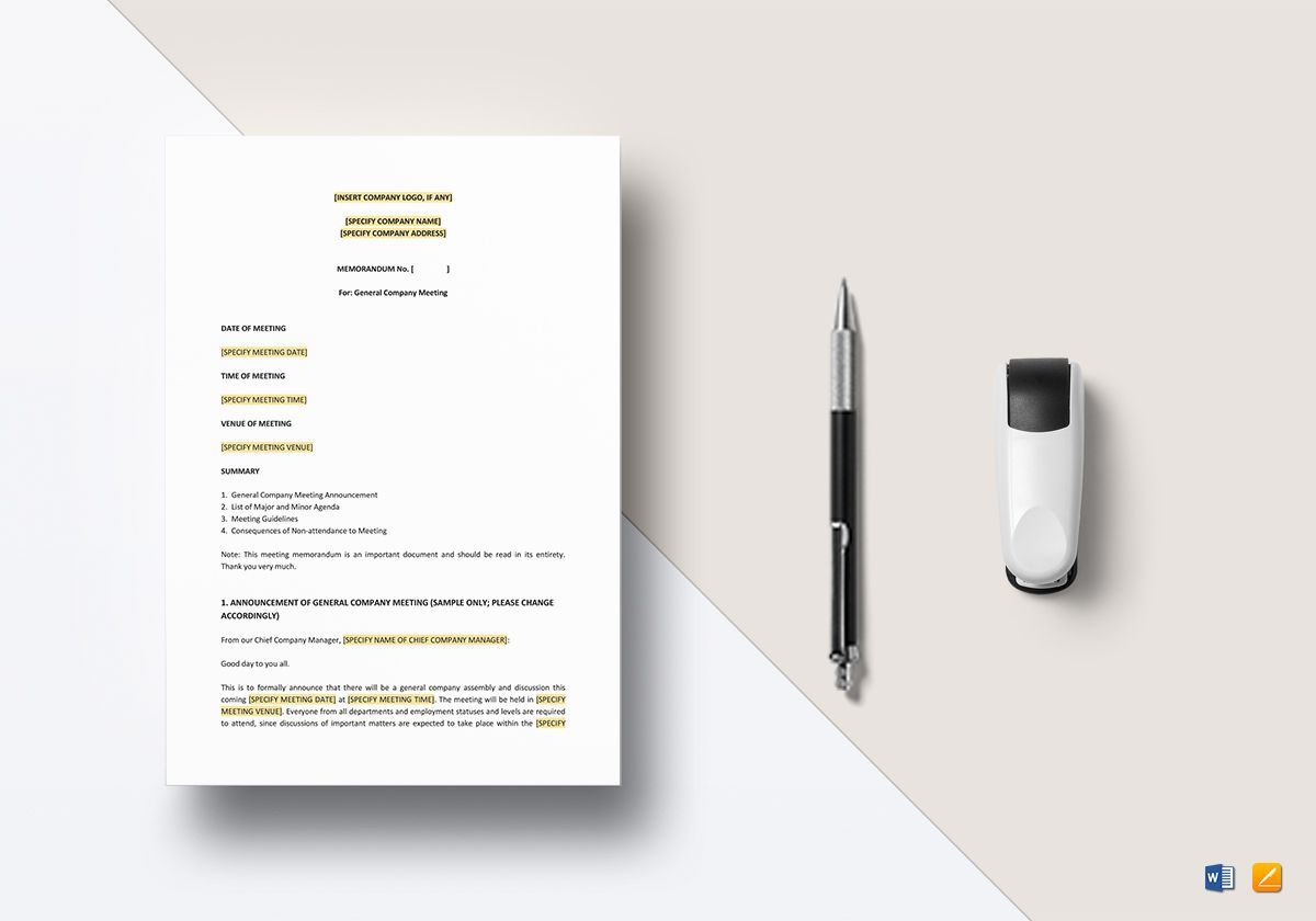 memo for meeting announcement template in word apple pages