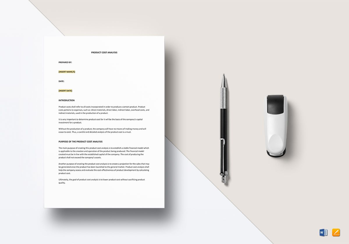 Product Cost Analysis Template