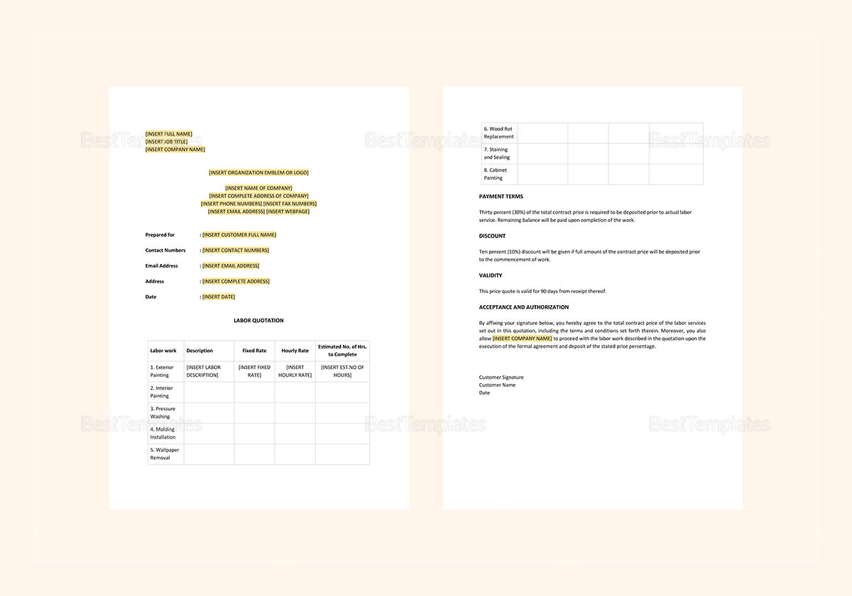 Sample Labor Quotation Template