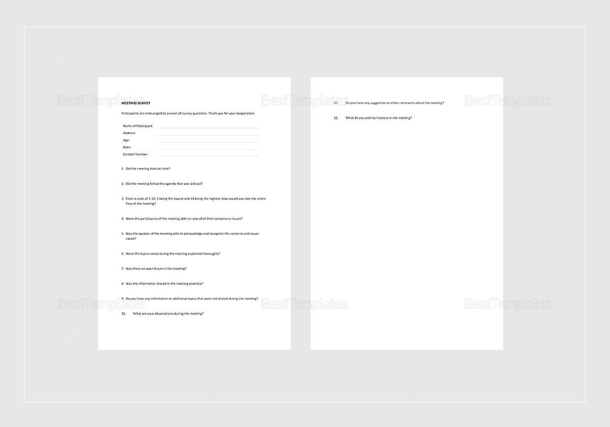 Sample Meeting Survey Template