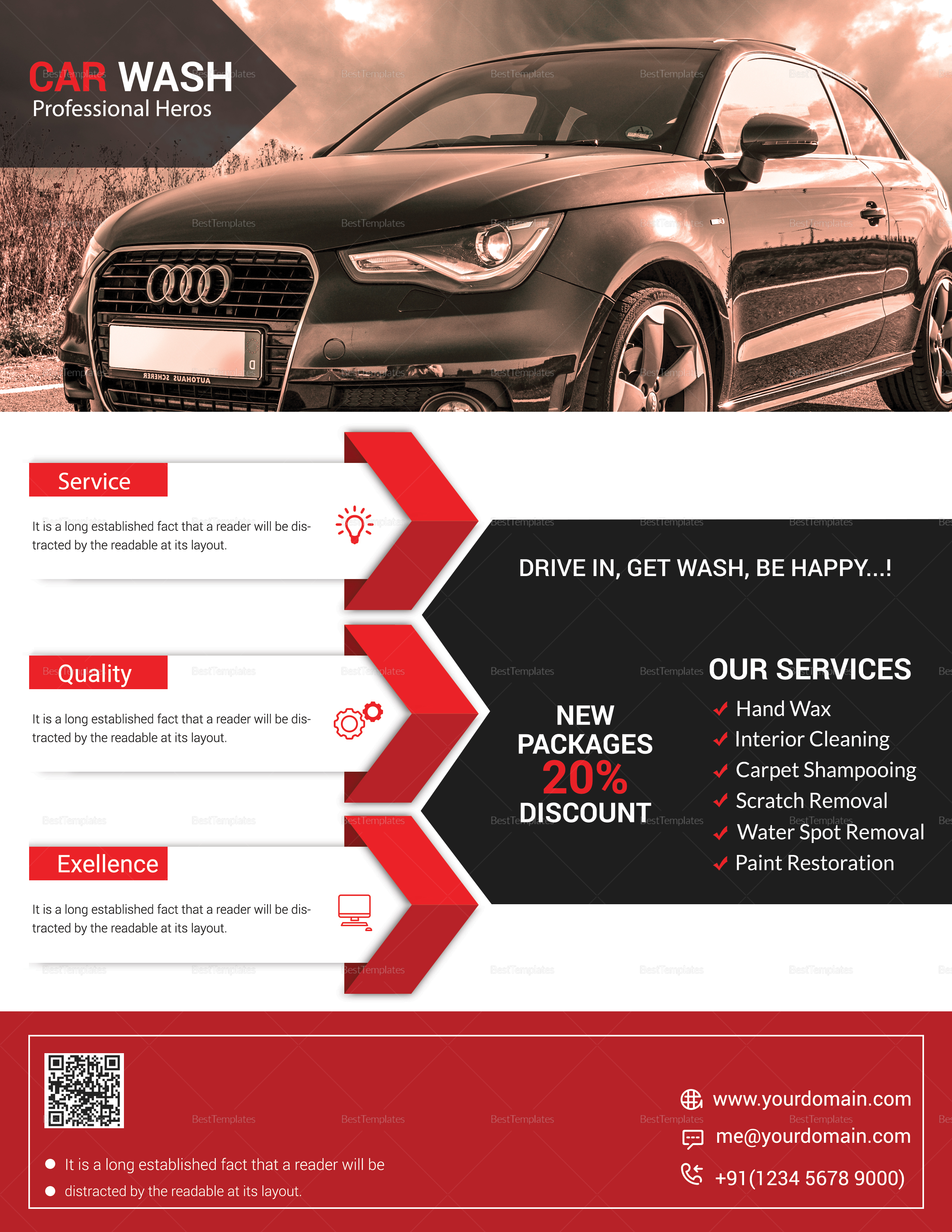Professional Car Wash Flyer Design Template In Word Psd Publisher