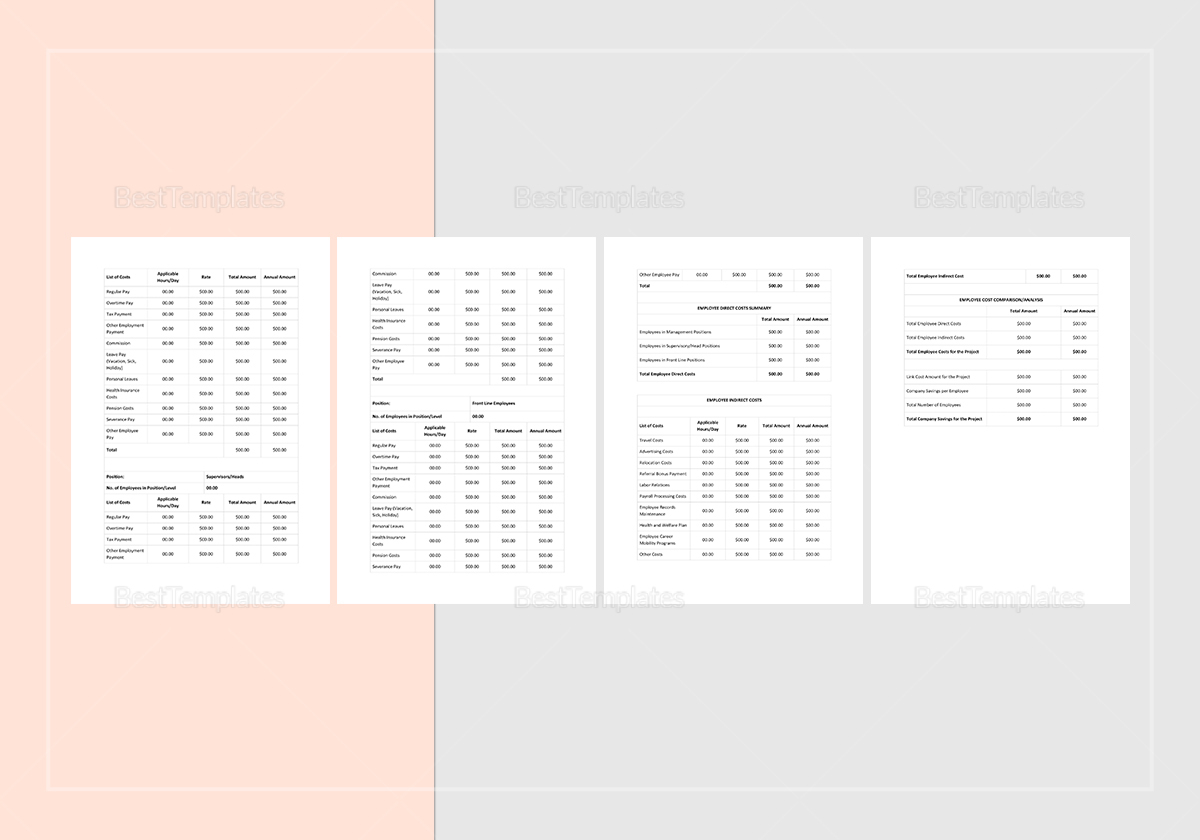 Employee Cost Analysis Template to Print