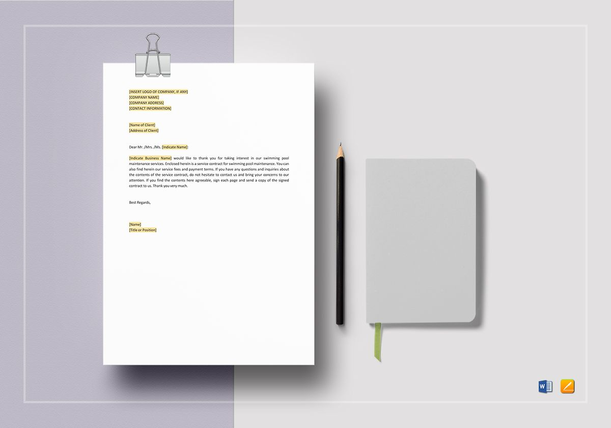 Swimming Pool Maintenance Contract Template In Word Apple
