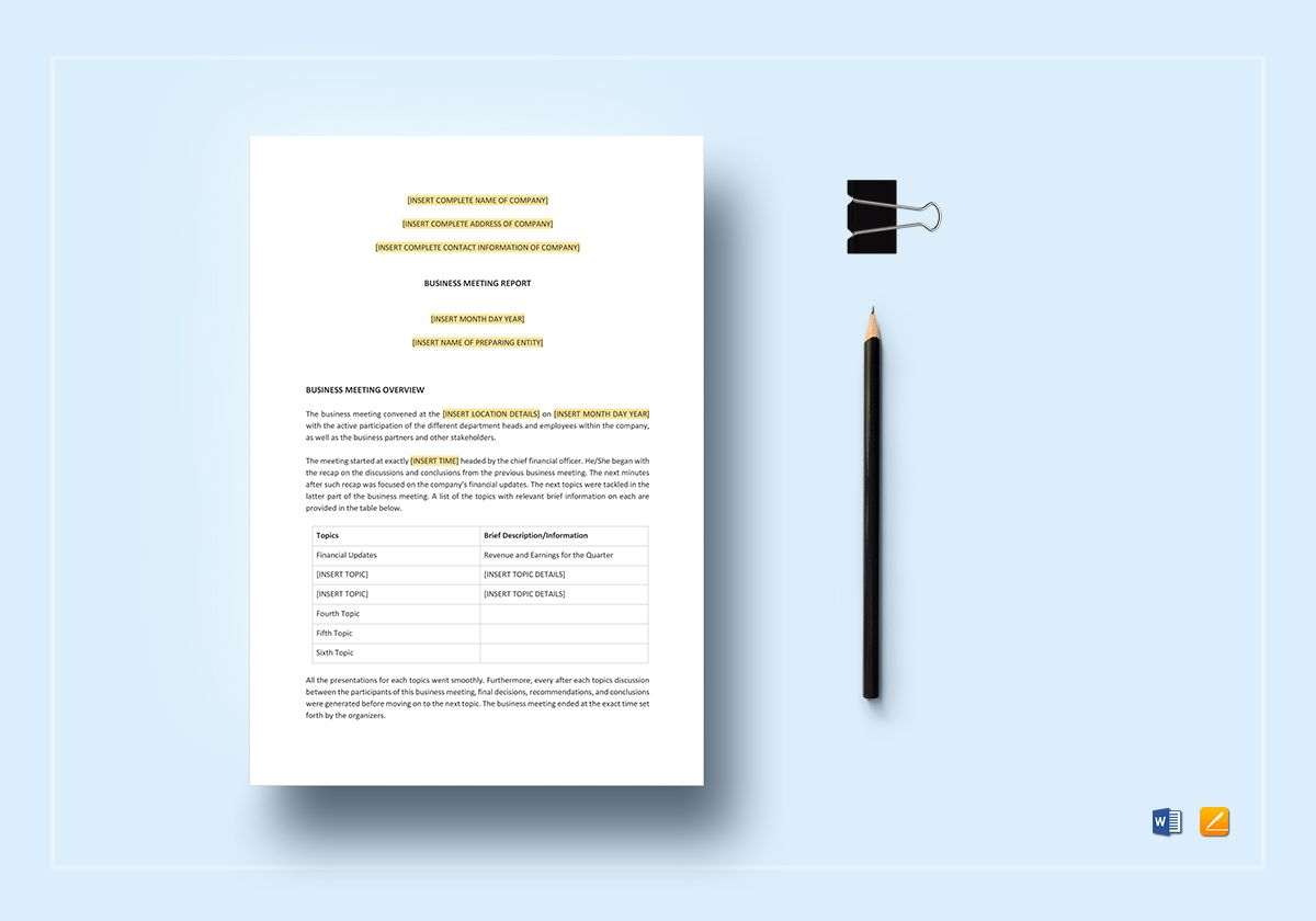 Business meeting report template in word apple pages business meeting report template flashek