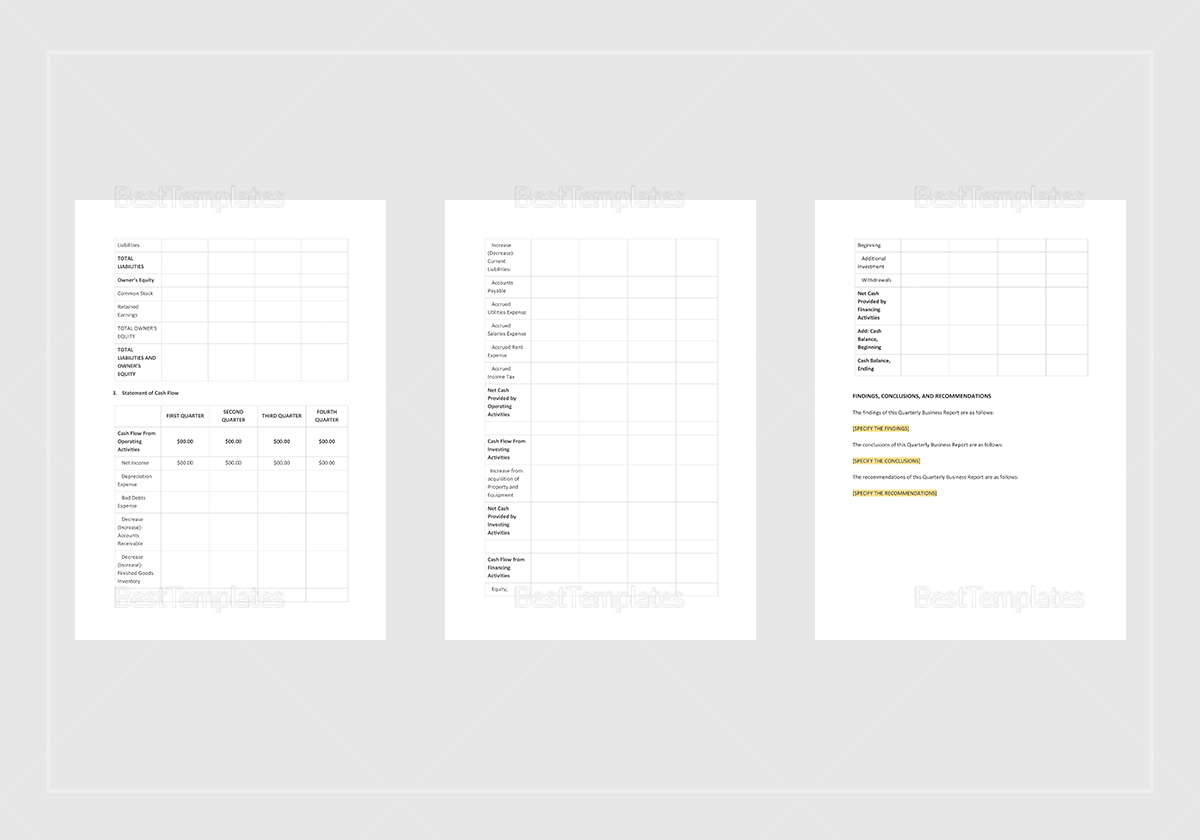Simple Quarterly Business Report Template