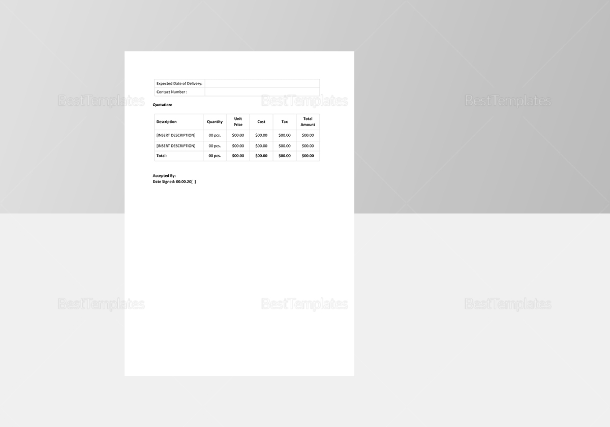 Sample Company Quotation Template