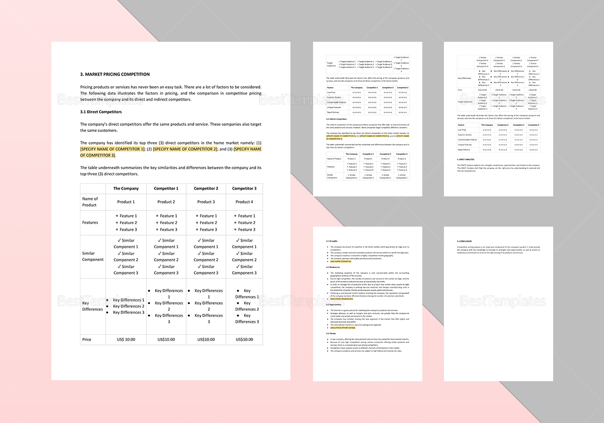 Sample Competitive Pricing Analysis Template