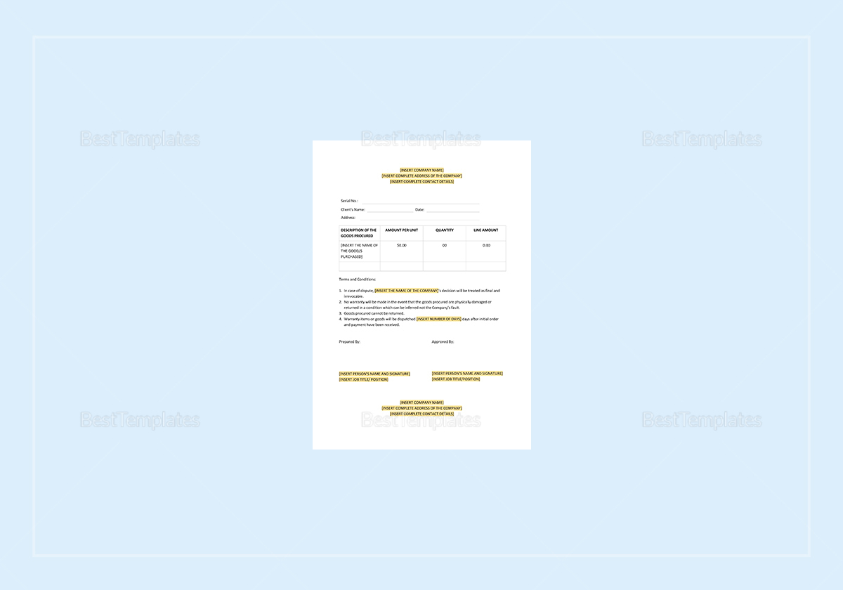 Sample Cash Memo Template