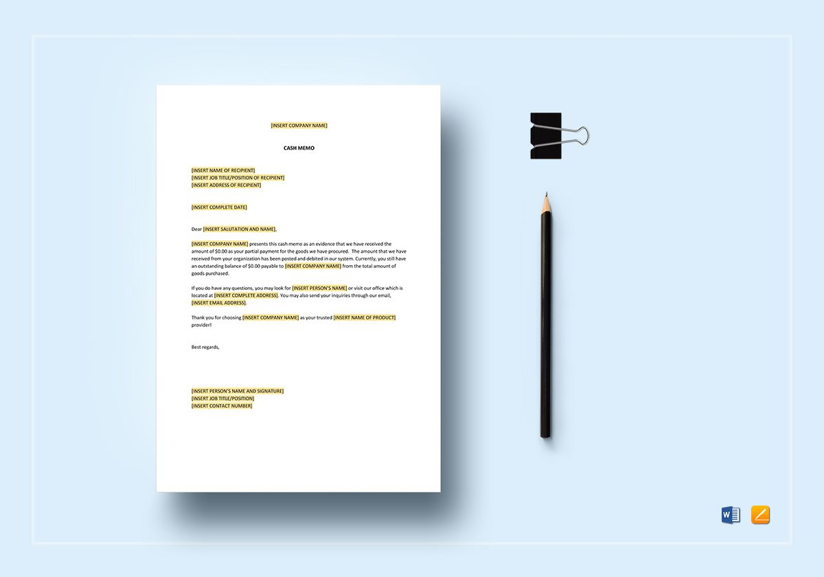 Cash Memo Template | Cash Memo Template In Word Apple Pages